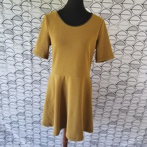 H & M Textured Skater Dress in Mustard Yellow
